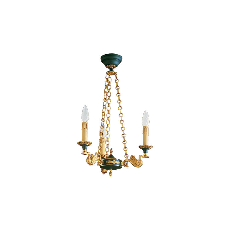 Lucien Gau Empire style bronze chandelier with three lights 15023