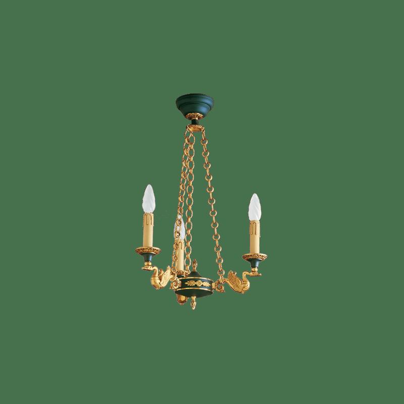 Lucien Gau Lustre en bronze de style Empire à trois lumières 15023