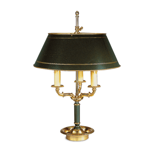 Lucien Gau Empire bronze lamp Bouillotte with three lights with lampshade 15213