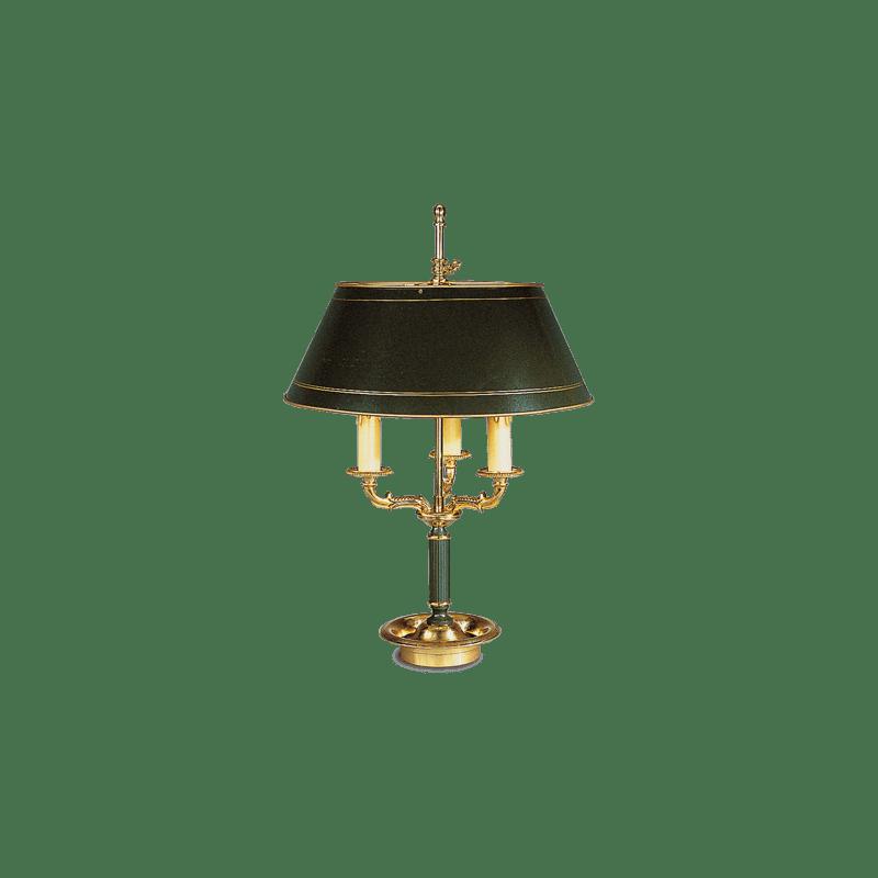 Lucien Gau Lampe Bouillotte en bronze Empire à trois lumières avec abat-jour 15213