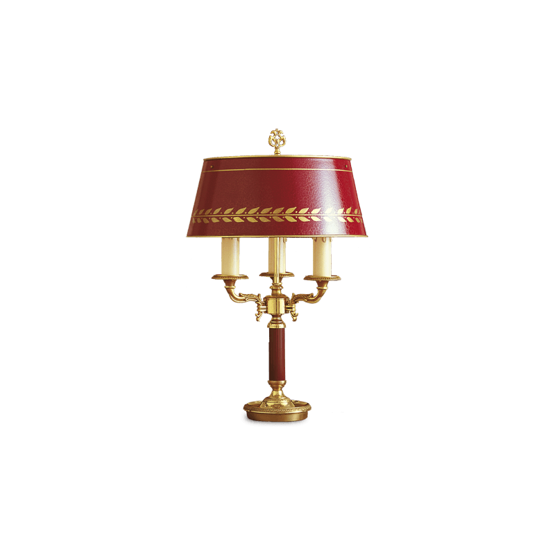 Lucien Gau Empire bronze lamp Bouillotte with three lights with lampshade 15103