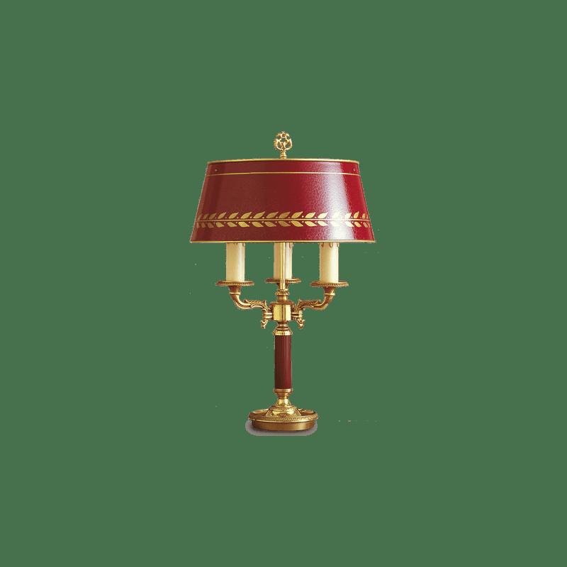 Lucien Gau Empire Bronzelampe Bouillotte mit drei Lichtern mit Lampenschirm 15103