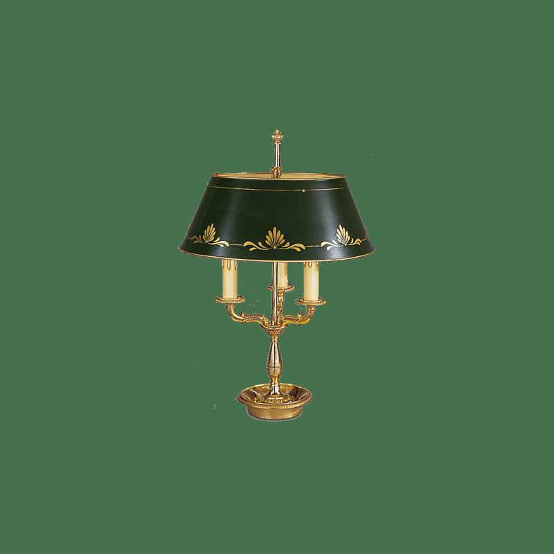 Lucien Gau Empire Bronzelampe Bouillotte mit drei Lichtern mit Lampenschirm 15323