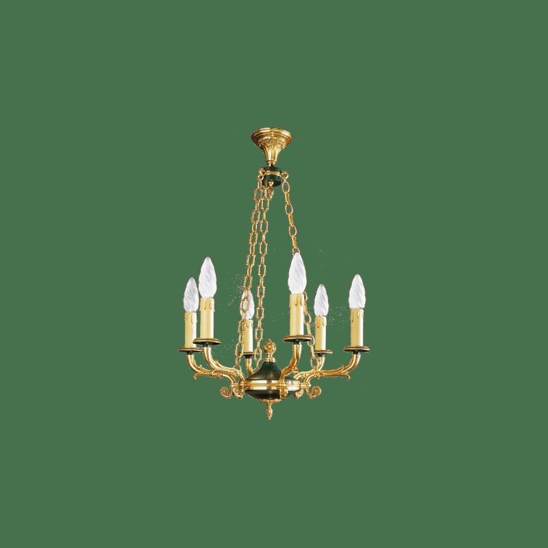 Lucien Gau Lustre en bronze Empire à six lumières avec chaîne 17046