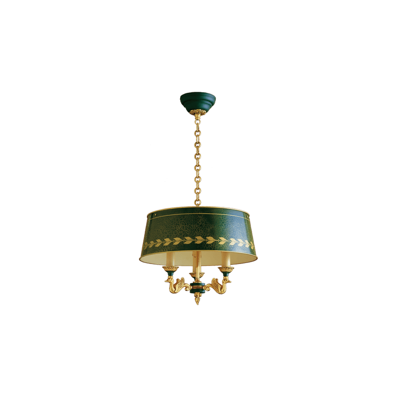 Lucien Gau Empire bronze chandelier at three lights with lampshade 15013
