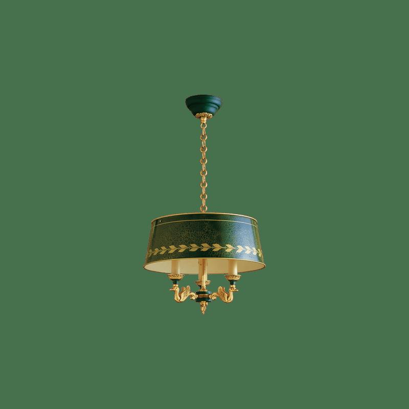 Lucien Gau Lustre en bronze Empire à trois lumière avec abat-jour 15013