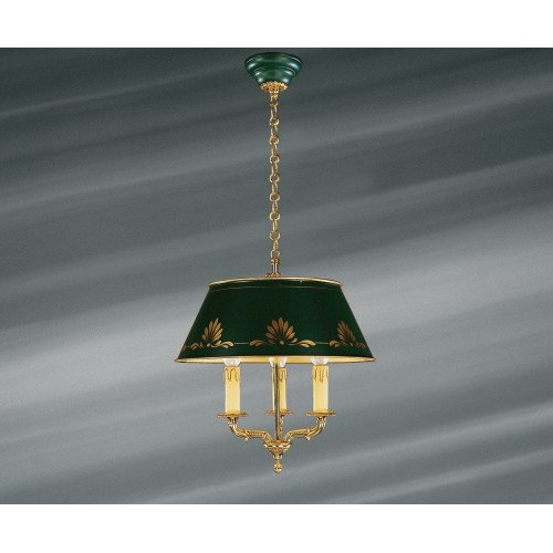 Lucien Gau Empire bronze chandelier at three lights with lampshade 15653 ter