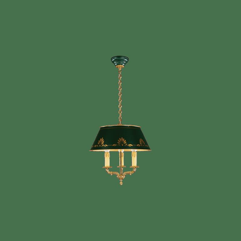 Lucien Gau Empire Bronze Kronleuchter an drei Lichtern mit Lampenschirm 15653 ter