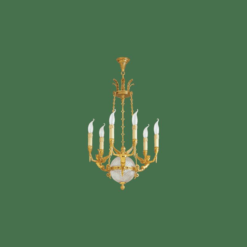 Lucien Gau Solid bronze chandelier Six-light Restauration 16546