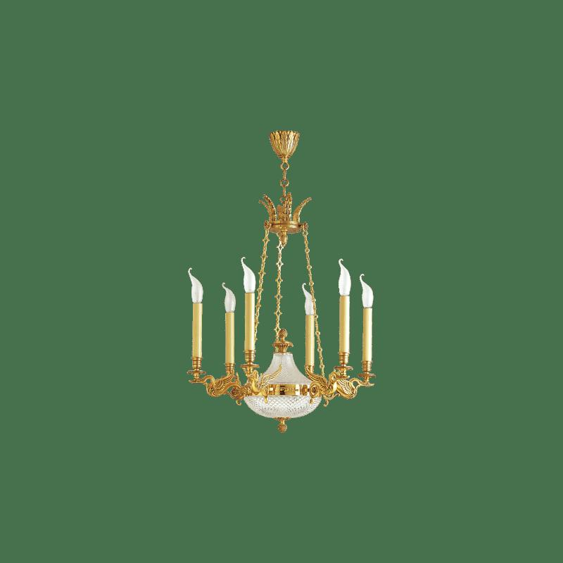 Lucien Gau Eight-Light Restauration Bronze Chandelier 18128