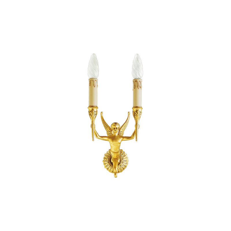 Lucien Gau Bronze wall lamp Restauration with two lights 16542