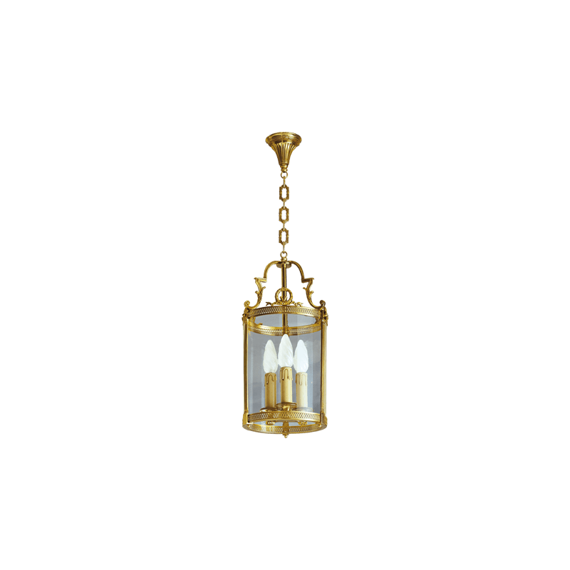 Lucien Gau Classic bronze lantern with three lights and glass 16143