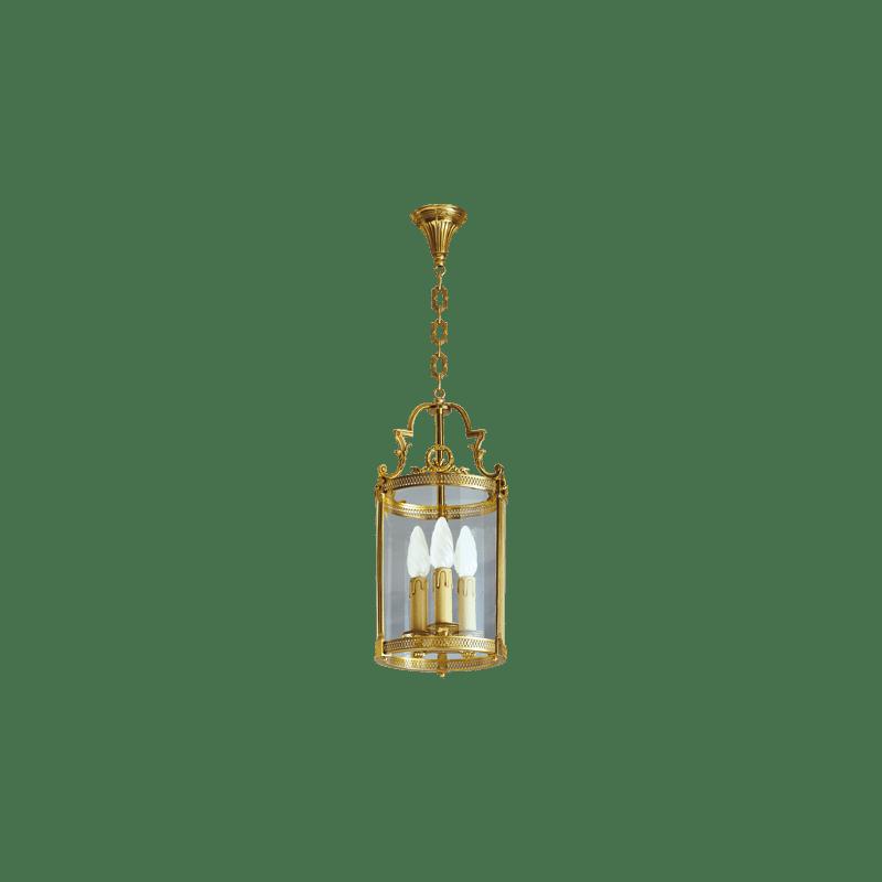 Lucien Gau Lanterne en bronze classique à trois lumière et verre 16143