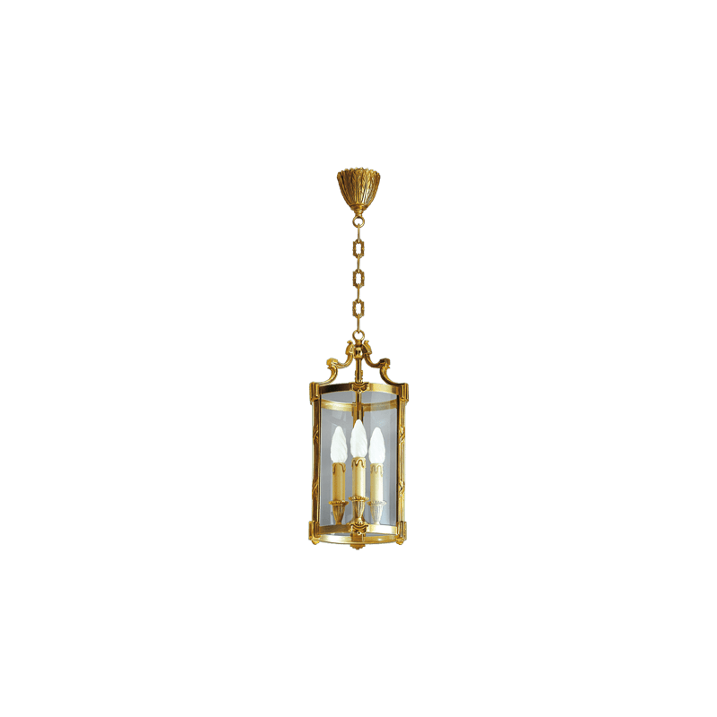 Lucien Gau Classical bronze lamp with three lights and 16163 glass
