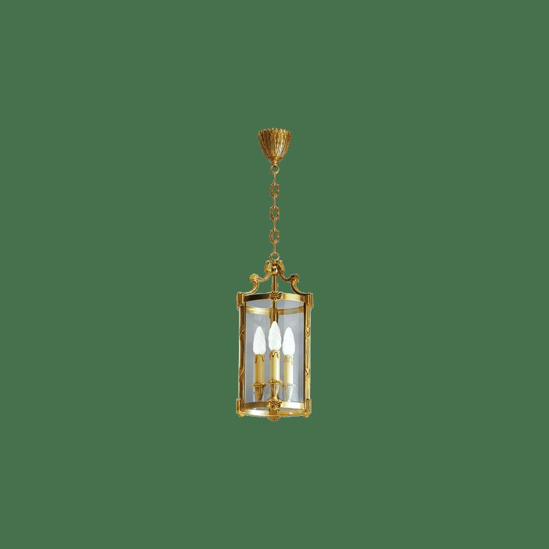 Lucien Gau Lanterne en bronze classique à trois lumières et verre 16163