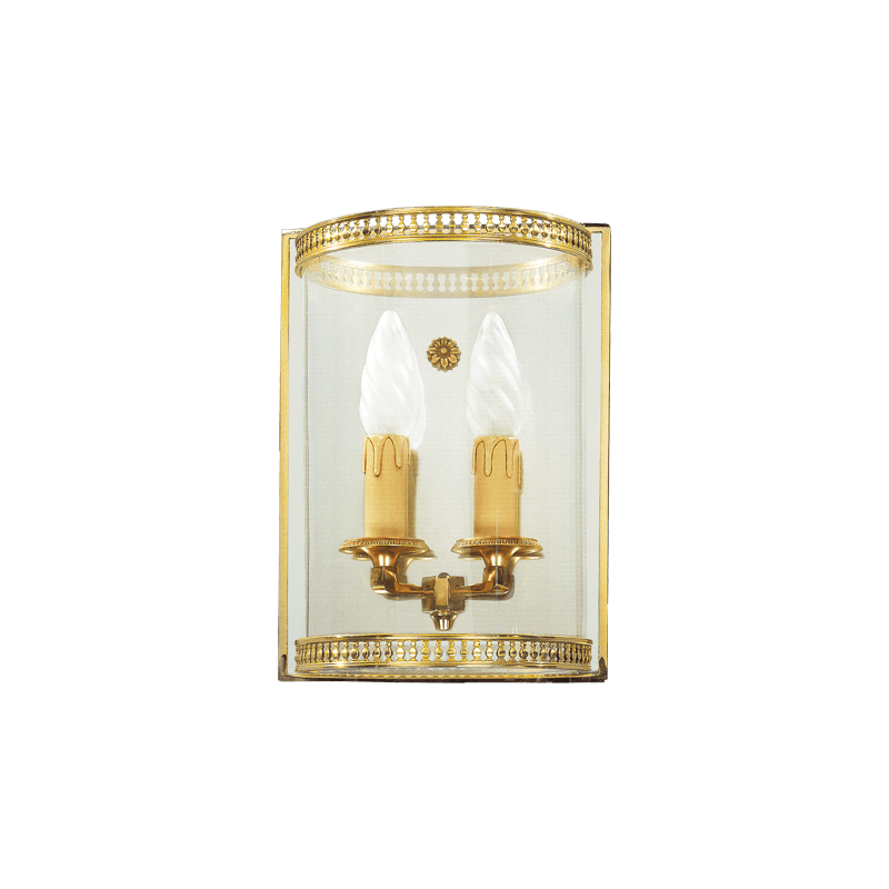 Lucien Gau Curved glass sconce with two lights 16122