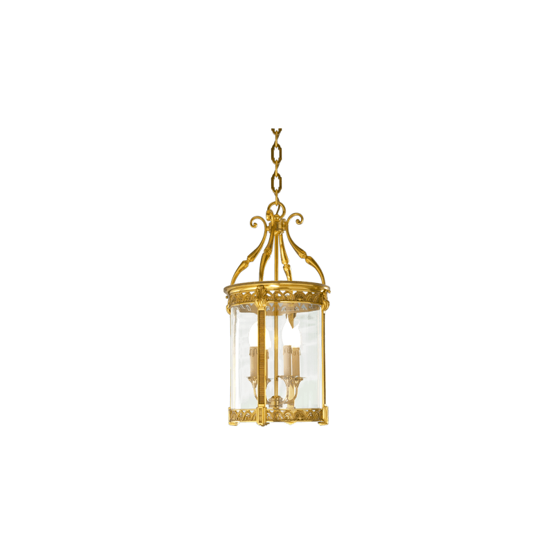 Lucien Gau Lanterne avec verre bombé à quatre lumières 194/35