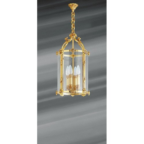 Lucien Gau Lantern in solid bronze with four-light glass 15164