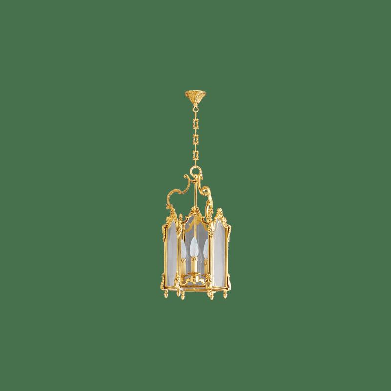 Lucien Gau Lanterne en bronze à trois lumières et trois plaques de verre 15273