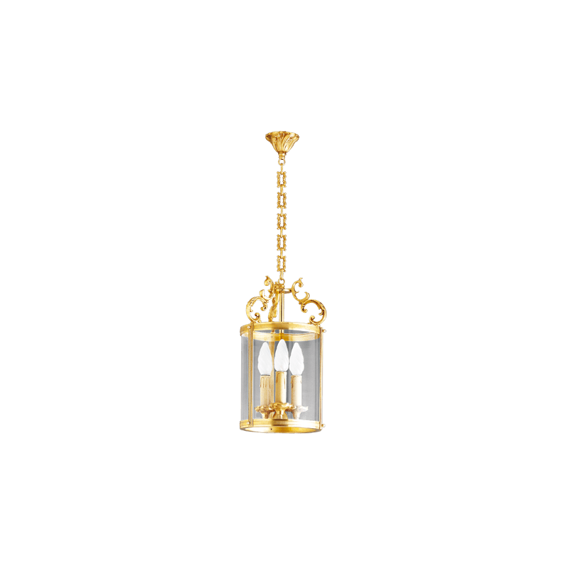 Lucien Gau Bronze lantern with three lights with curved glass 15143