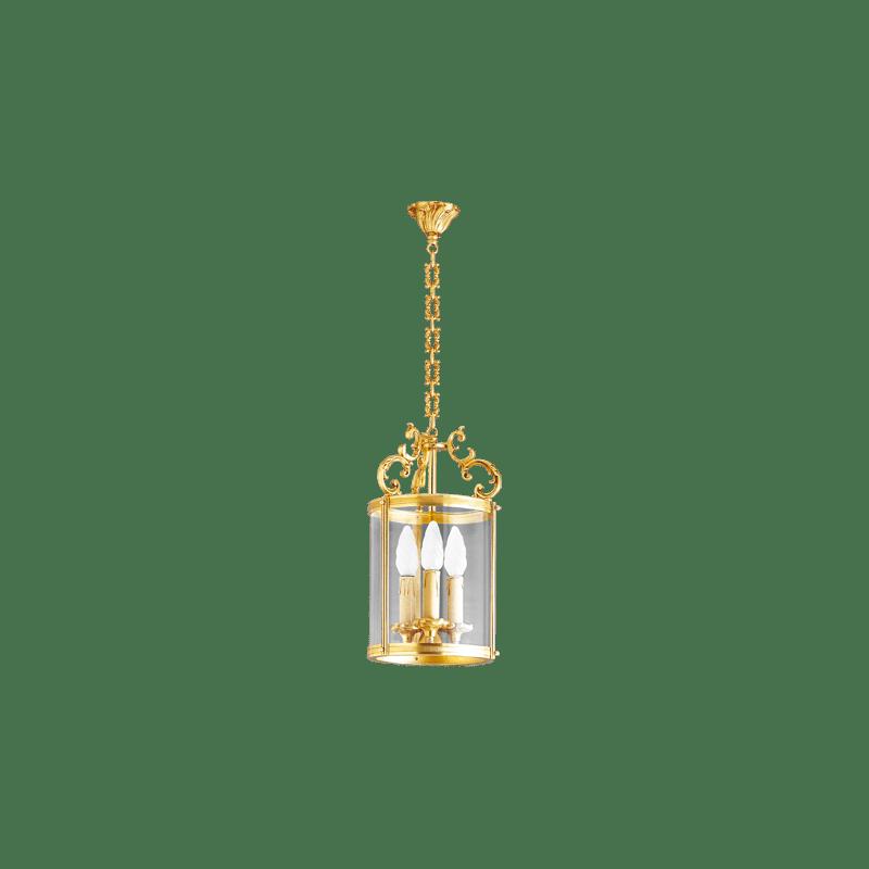 Lucien Gau Bronzelaterne mit drei Lichtern mit gebogenem Glas 15143