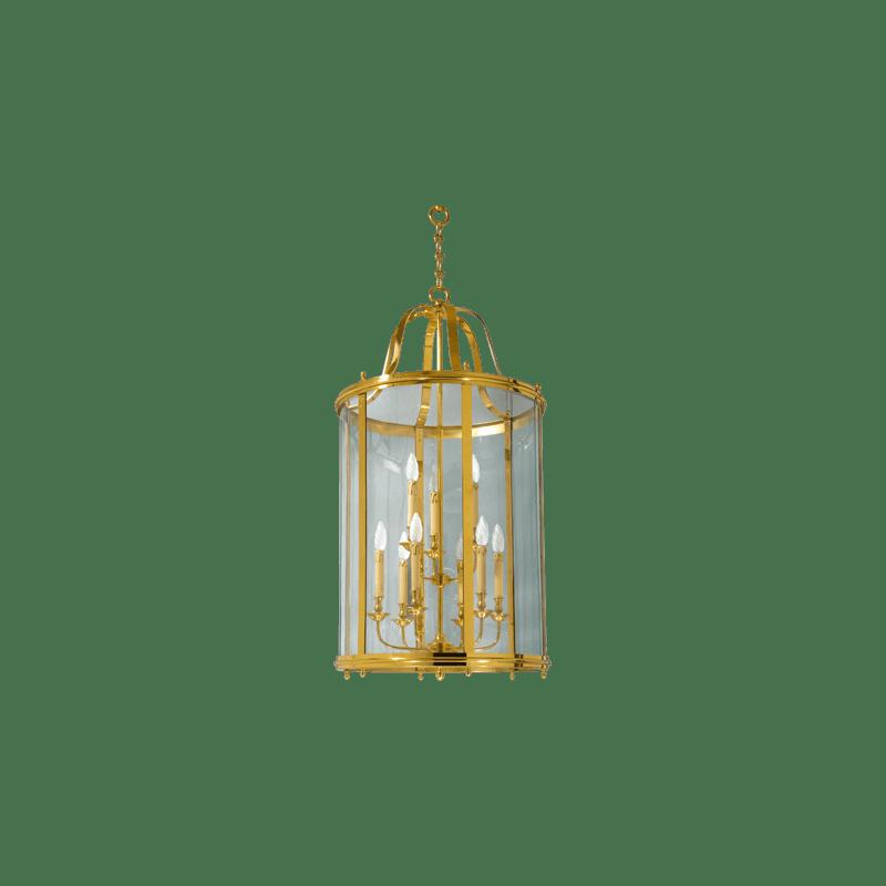 Lucien Gau Lanterne classique en bronze à neuf lumières et verre 109/66
