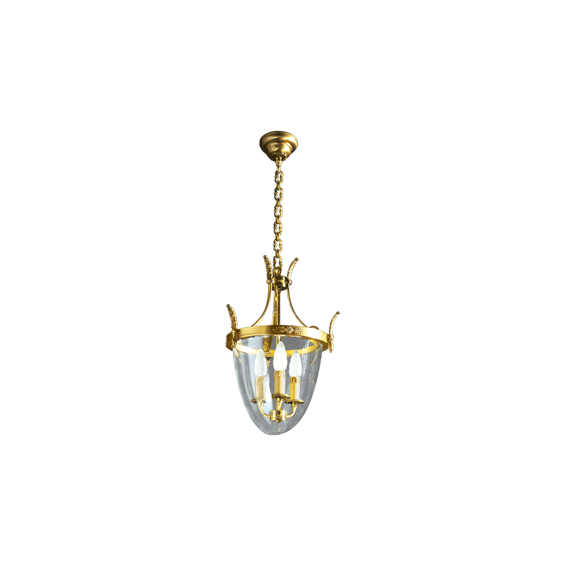 Lucien Gau Bronze lantern with three lights and glass base 15403