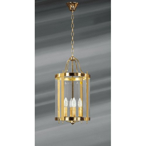 Lucien Gau Four-light bronze lantern with curved glass 154/30