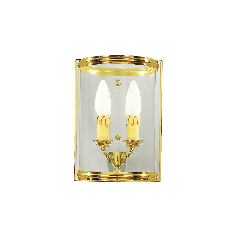Lucien Gau Classic style two-light sconce with curved glass 142