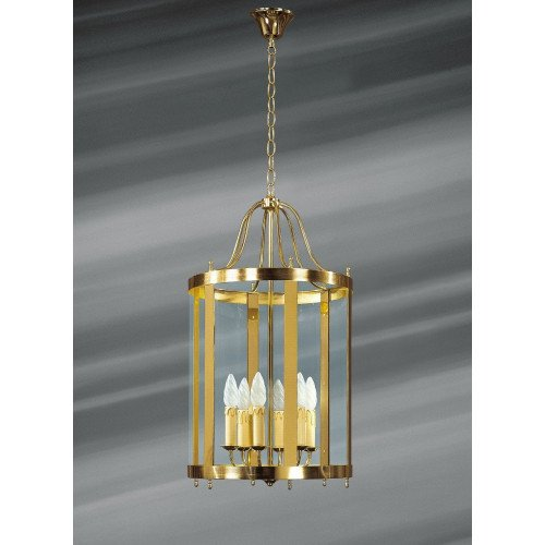Lucien Gau Classic solid bronze lantern with six lights and glass 156/40