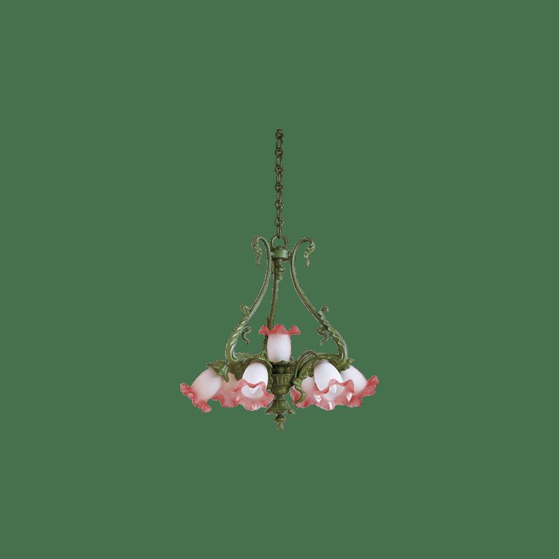 Lucien Gau Romantique art-nouveau chandelier with seven lights 19307