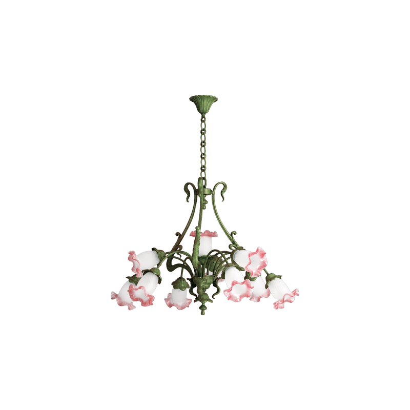 Lucien Gau Art-nouveau romantique Kronleuchter mit zehn Lichtern 19310