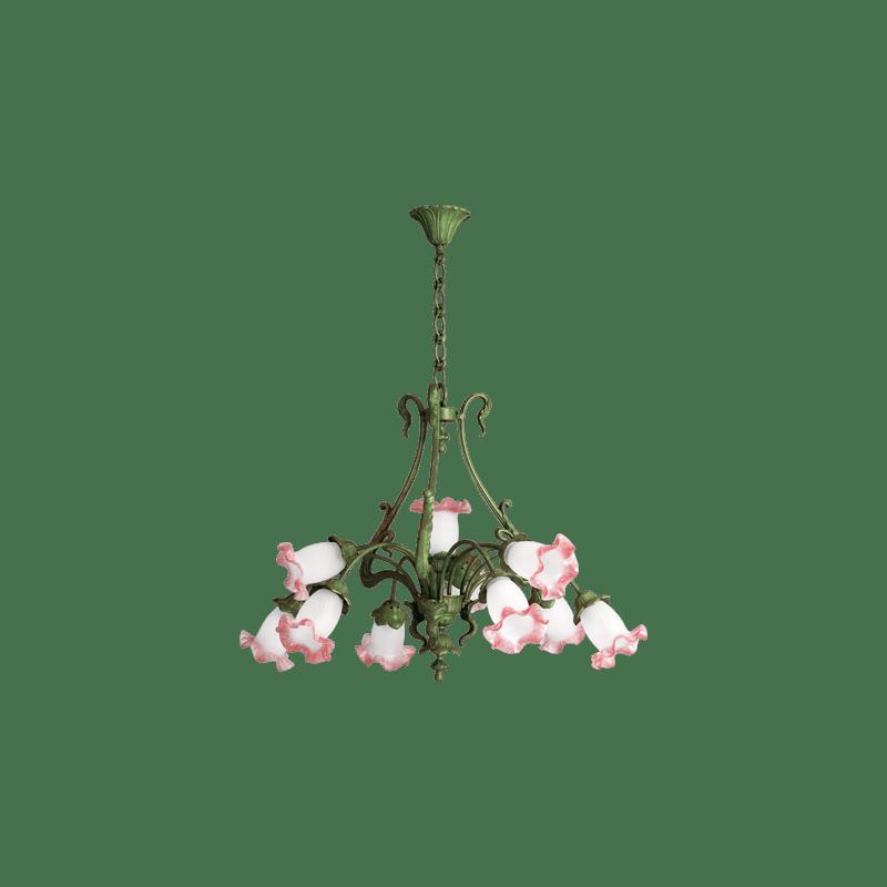 Lucien Gau ten-light Art-nouveau romantique chandelier 19310