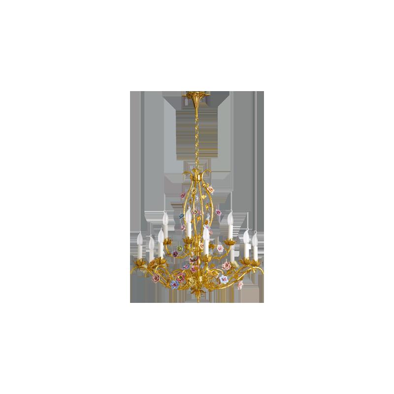 Lucien Gau Art-nouveau romantique flowers chandelier with twelve lights 672