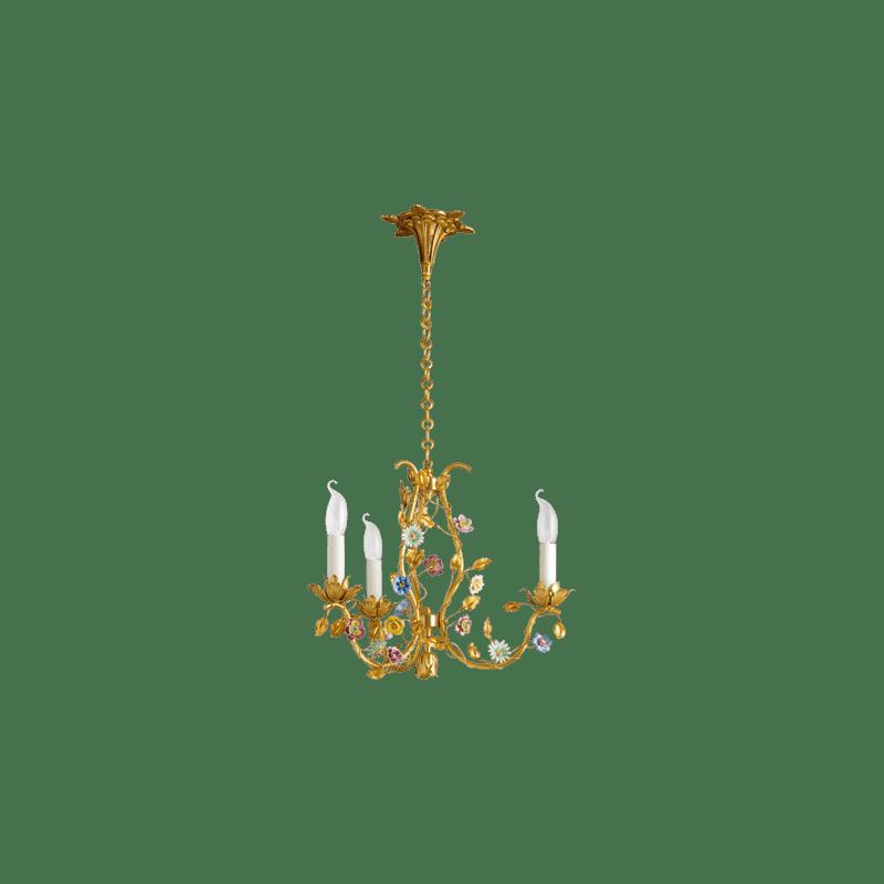Lucien Gau Art-nouveau romantique Bronze chandelier FLOWERS in three-light bronze 663