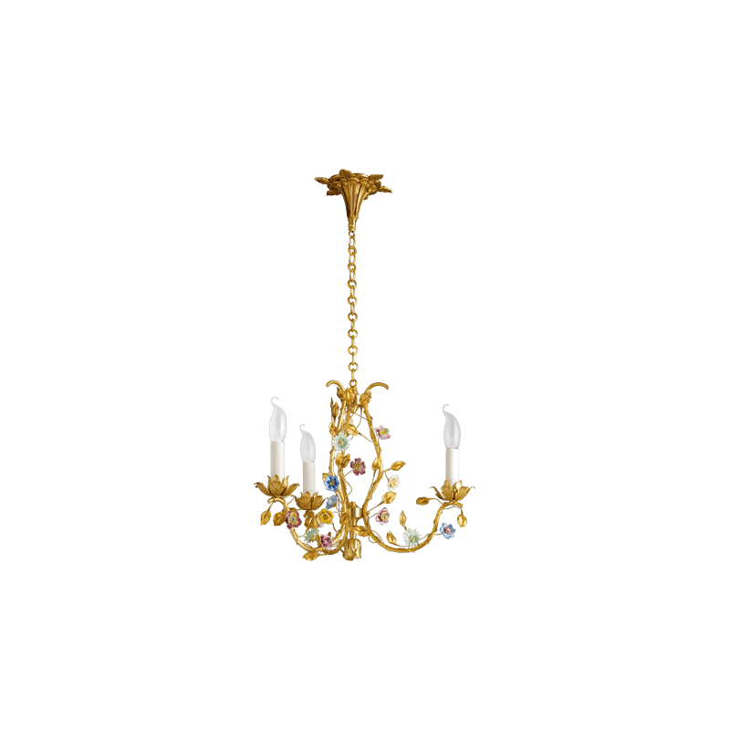 Lucien Gau Art-nouveau romantique Bronze Kronleuchter BLUMEN in dreilichtiger Bronze 663