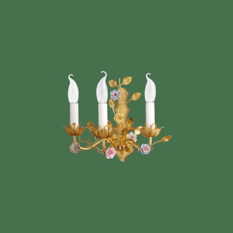 Lucien Gau Art-nouveau romantique Wandleuchte mit drei Lichtern 662/3