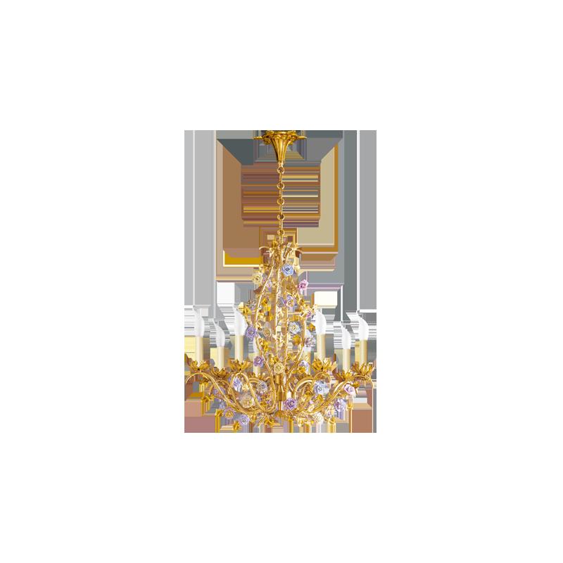Lucien Gau Eight-light Art-nouveau romantique flower chandelier 668