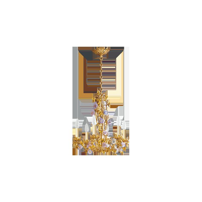 Lucien Gau Bronze chandelier FLOWERS in bronze with six lights 666 Art nouveau romantique