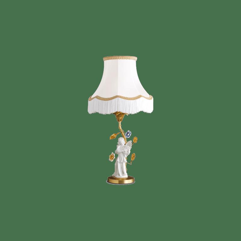 Lucien Gau Art-nouveau romantique bronze lamp with lampshade 651
