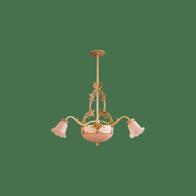 Lucien Gau Art-nouveau romantique six-light pendant lamp 19566