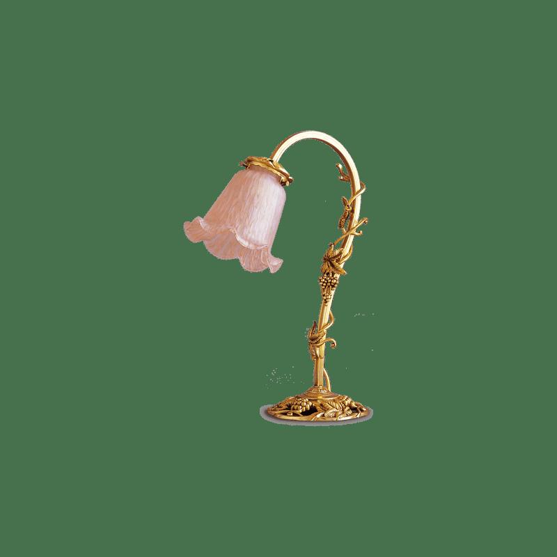 Lucien Gau Kleine Art-nouveau romantique Lampe mit Glaswaren 19571