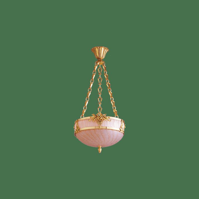Lucien Gau Romantische Jugendstil-Pendelleuchte mit drei Lichtern und Glaswaren 19563