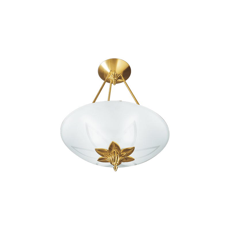 Lucien Gau Art-nouveau Romantique Pendelleuchte mit drei Lichtern und Glaswaren 30463 Ramses