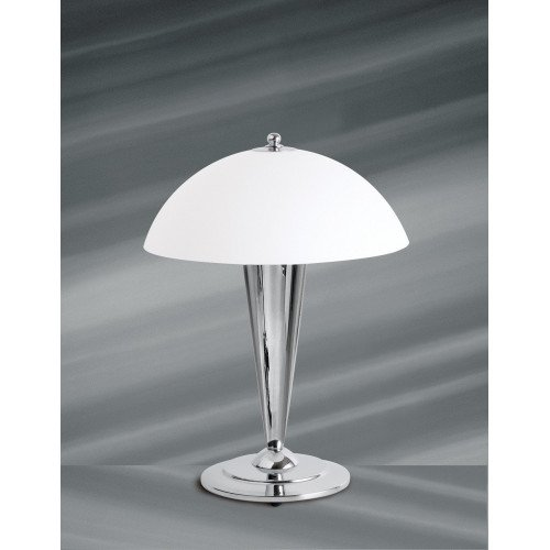 Lucien Gau Chrome lamp with single light and lampshade 25021 scooter Art-deco