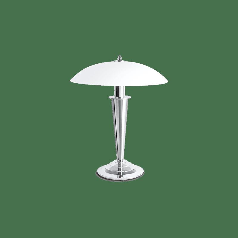 Lucien Gau Chromlampe mit Einzellicht und Lampenschirm 25031 olga Art-deco