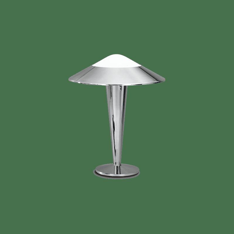 Lucien Gau Lampe chromée à simple lumière et abat-jour 23601 niko Art-deco