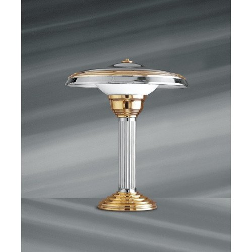 Lucien Gau CHAILLOT table lamp chrome and gold with lampshade 20112 Art-deco