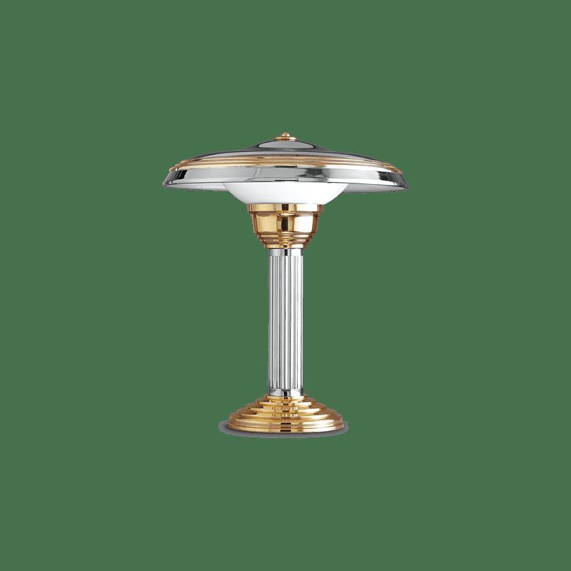 Lucien Gau Lampe de table CHAILLOT chrome et or avec abat-jour 20112 Art-deco