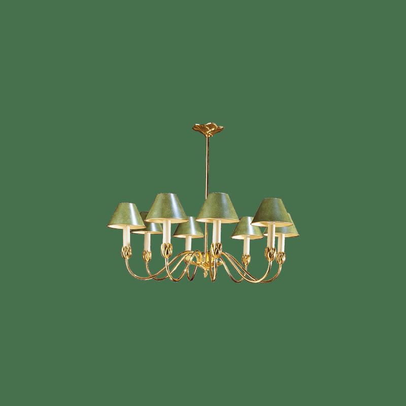 Lucien Gau Kronleuchter mit acht Lichtern und Lampenschirm 31368 Nymphéa Classique